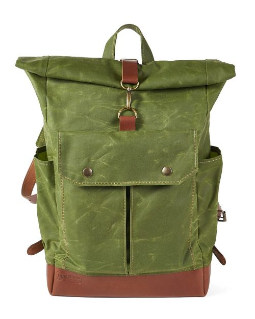 Waxed canvas leather roll top backpack. One hook closure
