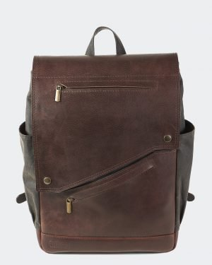 Commuter waxed canvas and leather backpack