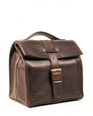 Dark brown small leather lunch bag for men
