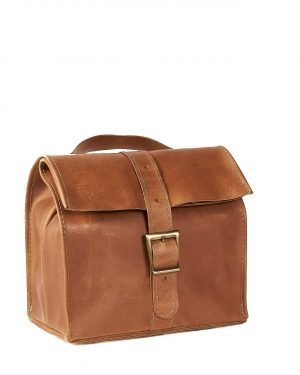 Light brown leather lunch bag