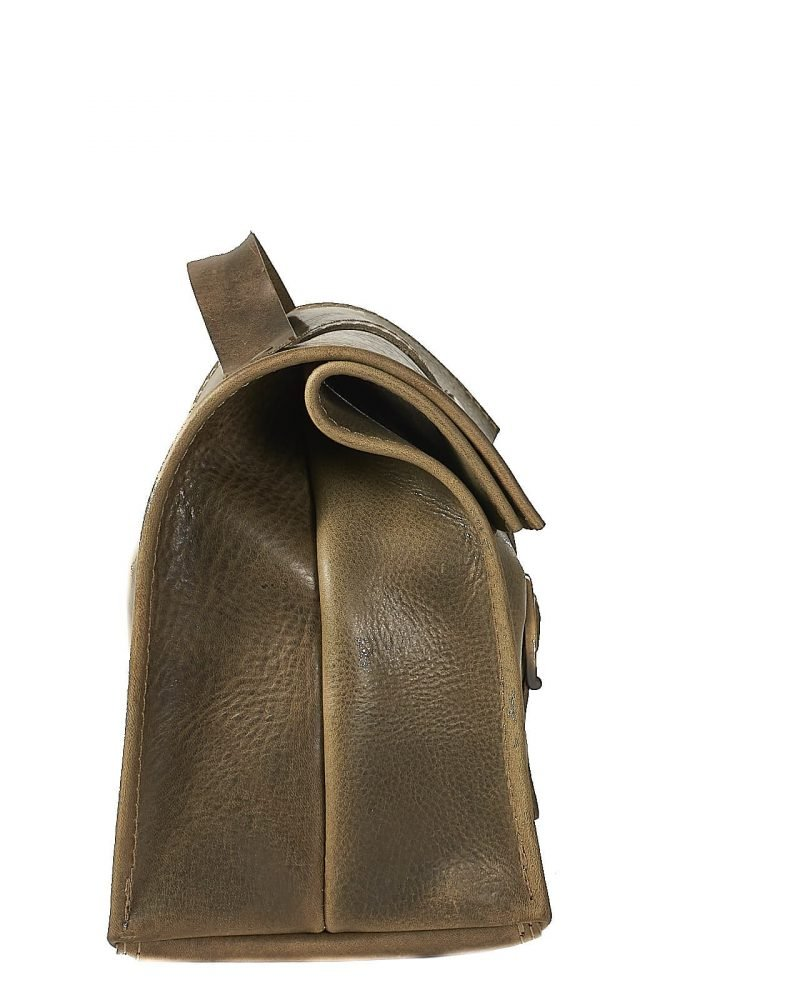 Olive leather lunch bag