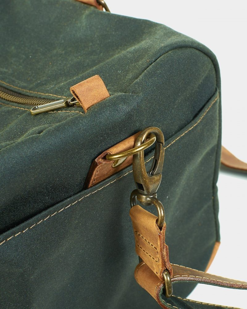 Men's waxed canvas and leather weekender bag