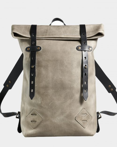 Roll top backpack for work made of crazy horse leather