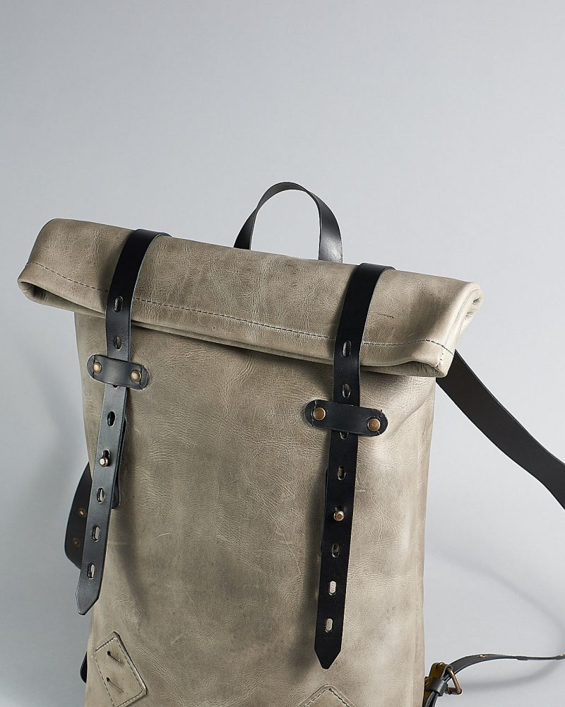 Leather roll top backpack for work.a