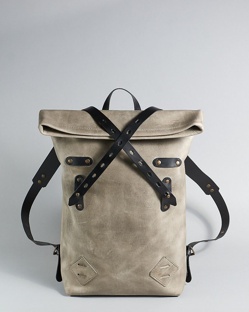 Leather roll top backpack for work.