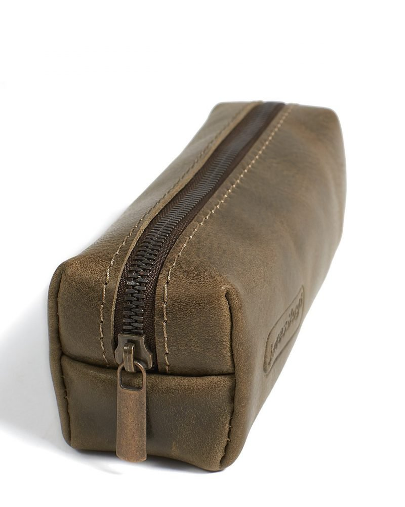 Leather pencil case in olive colour