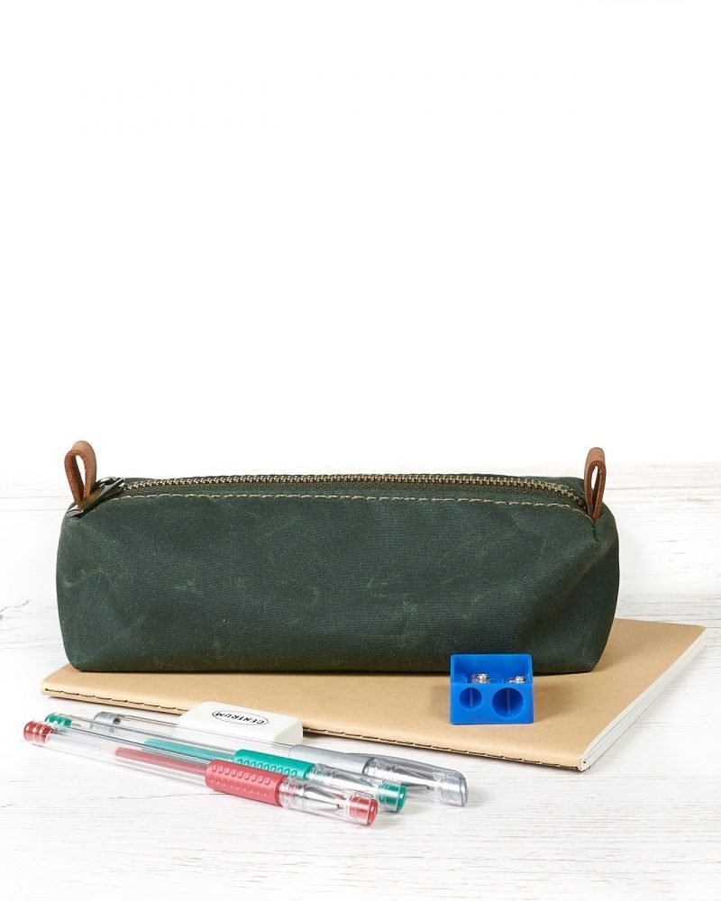 Dark green waxed canvas pencil case