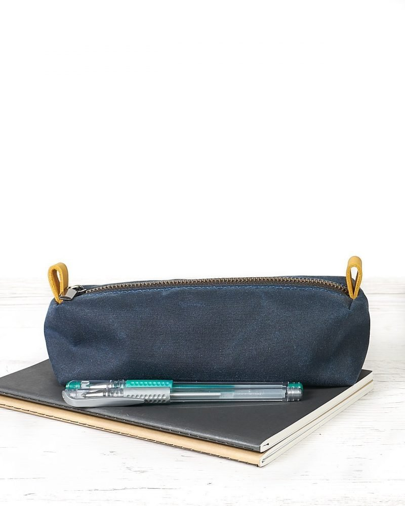 Navy blue waxed canvas pencil case