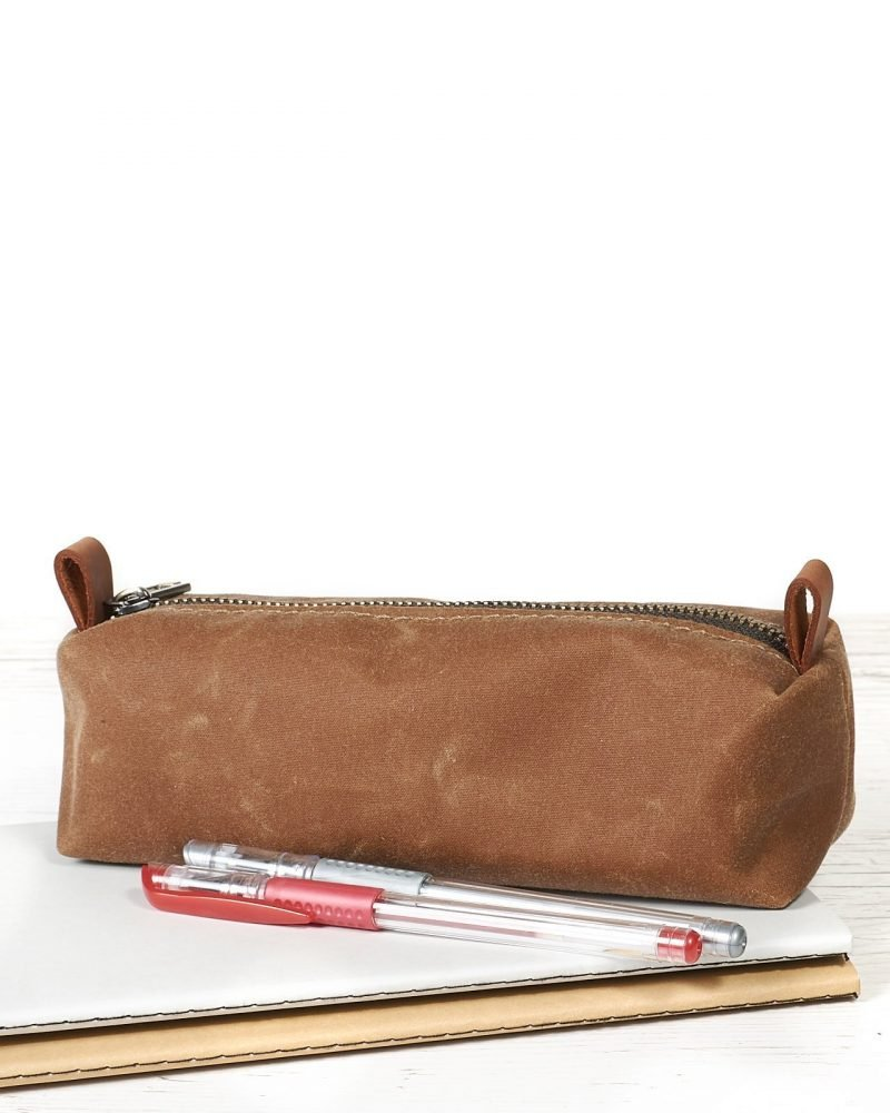 Tan brown waxed canvas pencil case